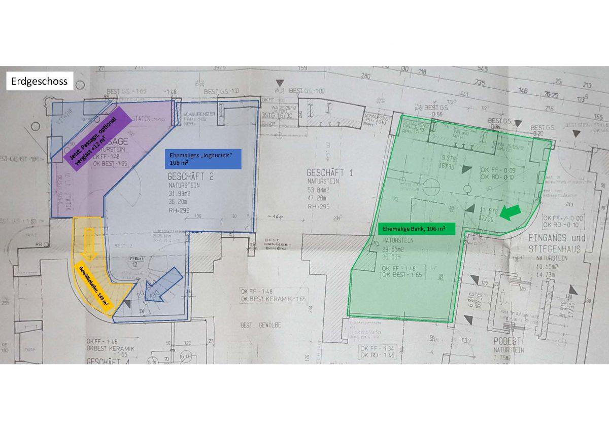 Der Bestand des Lokals ist Blau eingezeichnet. Die Durchgangspassage (lila) könnte verglast werden und als zusätzliche Fläche dienen. Die gelbe Fläche führt in den Gewölbekeller.